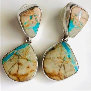 Navajo Royston Boulder Turquoise Sterling Earrings